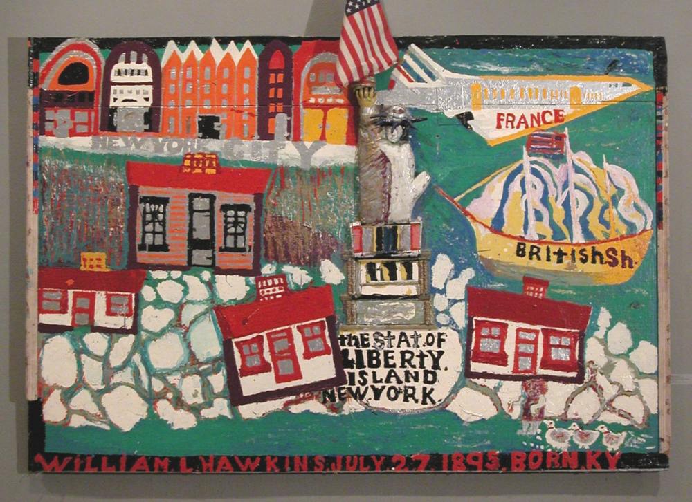 William Hawkins,  The   Statue of Liberty , enamel and mixed media on plywood, 1986. Intuit: The Center for Intuitive and Outsider Art, gift of Lael and Eugenie Johnson, 2004.37.1 © William Hawkins Estate | Courtesy of Ricco/Maresca Gallery, New York.