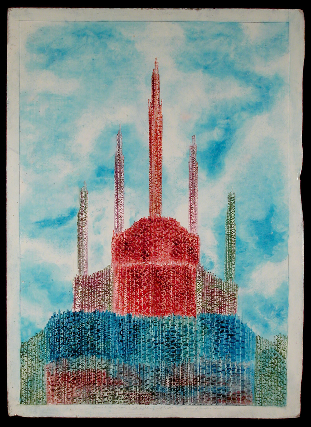 Eugene Von Bruenchenhein,  Edward Complex Steel and Stone; Towers to Sun, Rain, Wind, Lightning and Earth , oil on corrugated cardboard, July 15, 1978