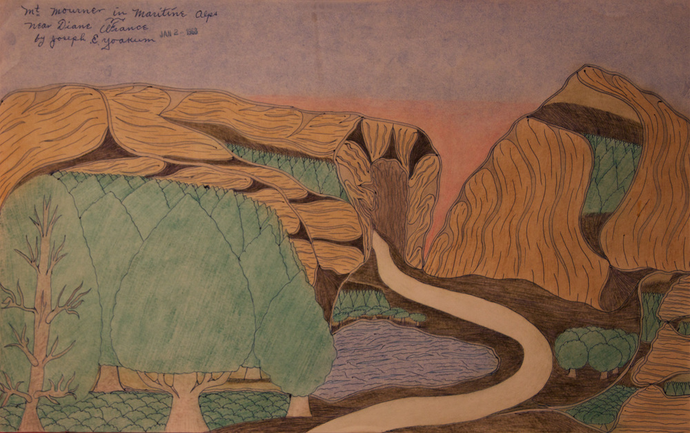Joseph E. Yoakum, Mt. Mourner in Maritine Alps, colored pencil on paper, 1968