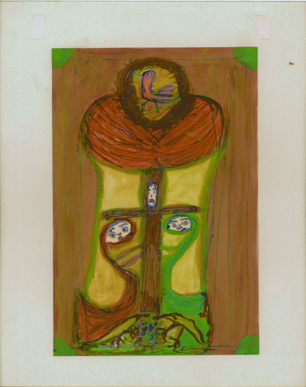 Betty Zakoian, Untitled, tempera and pen on paper, n.d.