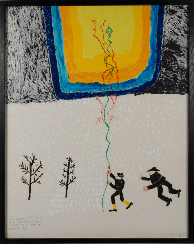 Mary Eveland,  Benjamin Franklin in an Electrical Storm Discovering a Form of Electricity , oil on cardboard, ca. 1976-80