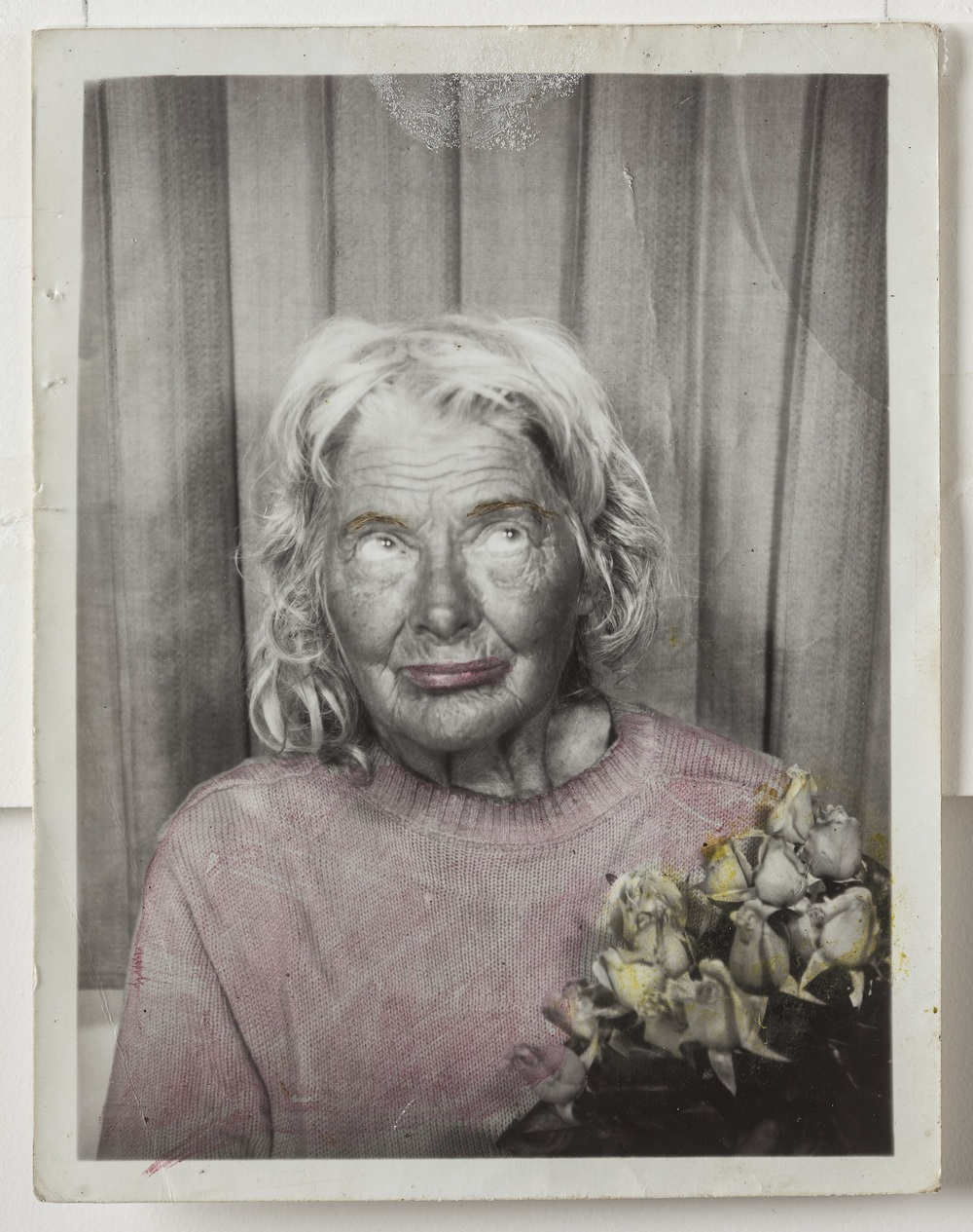 Lee Godie, Untitled (12 photobooth self-portraits, detail), n.d.; gelatin silver print; 12 1/2 x 61 x 2 1/2 in. Collection of Robert Parker and Orren Davis Jordan, NM.