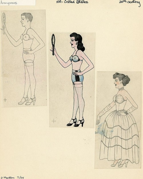 Anonymous, Man Cross Dressing, Mid 20th century, graphite and colored pencil on paper, Courtesy of the Kinsey Institute