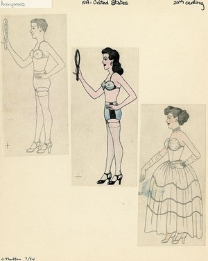 Anonymous,   Man Cross Dressing  , Mid 20th century, graphite and colored pencil on paper, Courtesy of the Kinsey Institute