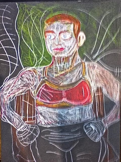 Mark Hudson. The Boxer, July 16, 2014.  Colored chalk on paper, 22 x 28 in. (55.88 x 71.12 cm). Arient Family Collection