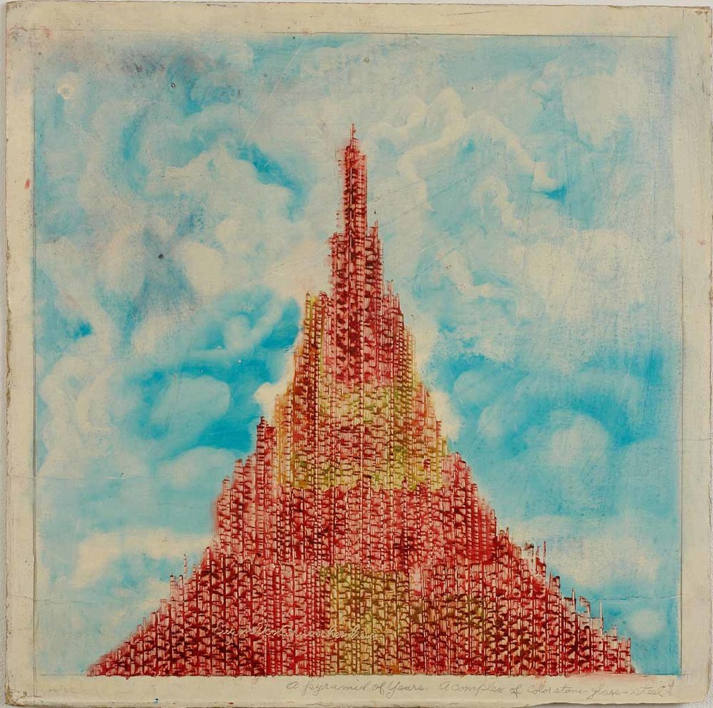 Eugene Von Bruenchenhein (American, 1910-1983).  A Pyramid of years/ A Complex of Color Stone, Glass and Steel , 1978. Paint on board, 19 ¾ x 19 ½ in. Intuit: The Center for Intuitive and Outsider Art, gift of Lewis and Jean Greenblatt,  2007.19.5