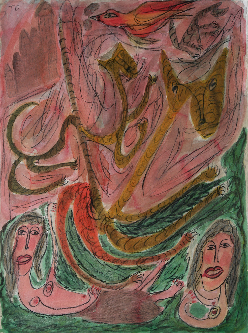 Thornton Dial Sr. (American, 1928-2016).  Jungle Life , 1991. Watercolor and Charcoal on paper, 30 x 22 in. Intuit: The Center for Intuitive and Outsider Art, gift of Lael and Eugenie Johnson, 2006.15  ©  2017 Estate of Thornton Dial / Artists Rights Society (ARS), New York