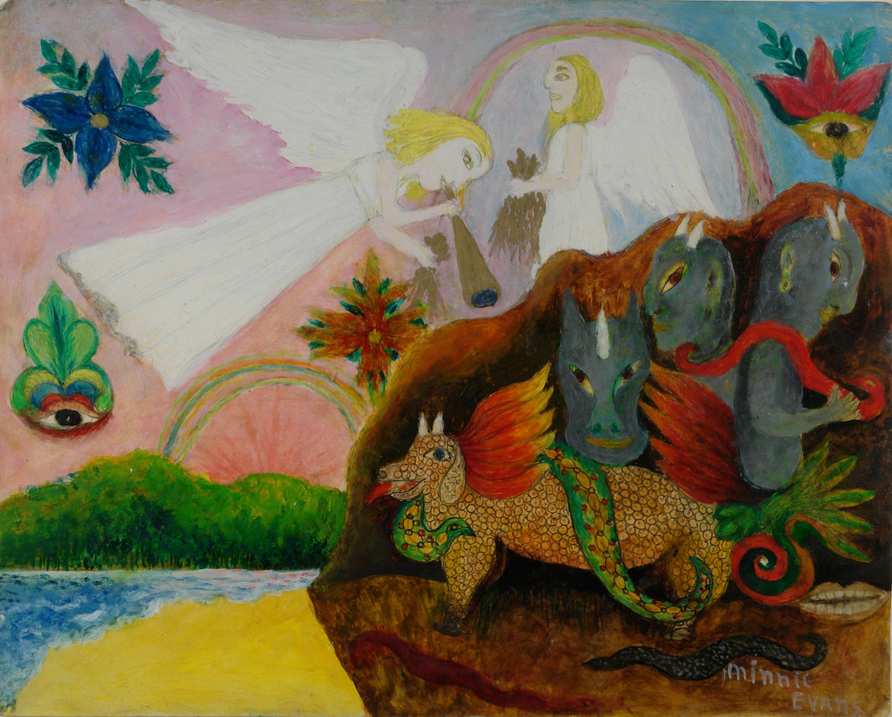 Minnie Evans (American, 1892-1987).   Angels and Demons , 1975. Oil on canvas board, 17 x 19 ½ in (frame), 11 x 14 in (sheet). Intuit: The Center for Intuitive and Outsider Art, gift of Susann Craig,  2002.1