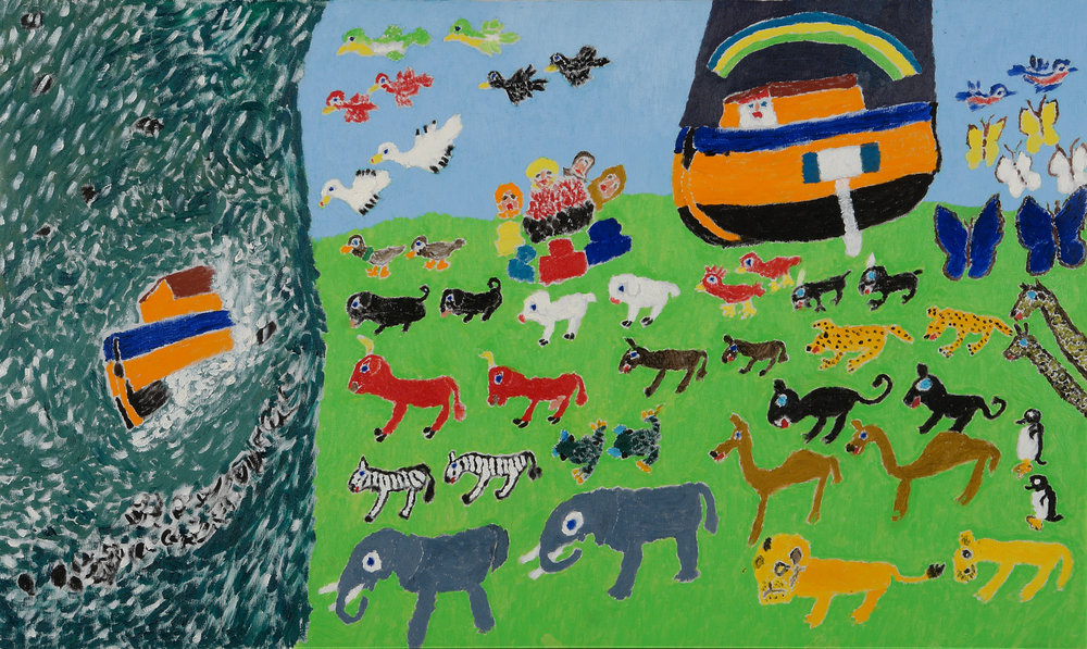 Mary Eveland (American, 1896-1981).  Noah's Ark , ca. 1976-1980. Oil on canvas, 24 x 40 in. Intuit: The Center for Intuitive and Outsider Art, gift of Merle Glick,  2007.12.8