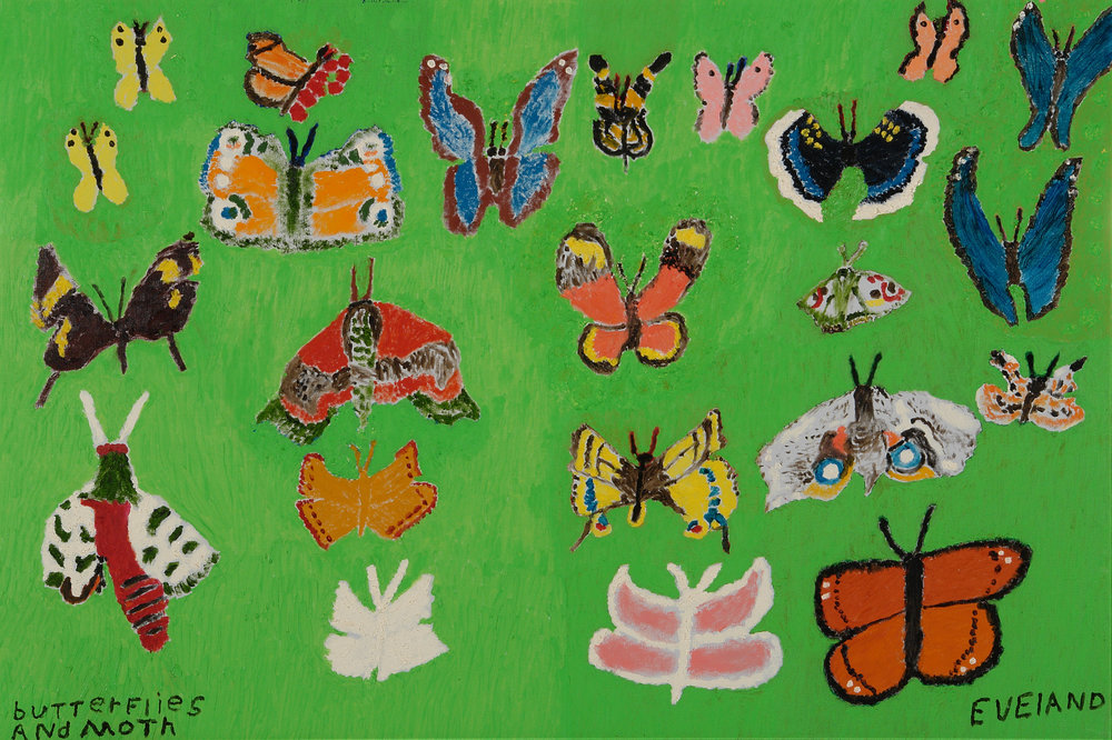 Mary Eveland (American, 1896-1981).  Butterflies and Moth , ca. 1976-1980. Oil on canvas, 24 x 36 in. Intuit: The Center for Intuitive and Outsider Art, gift of Merle Glick, 2007.12.9