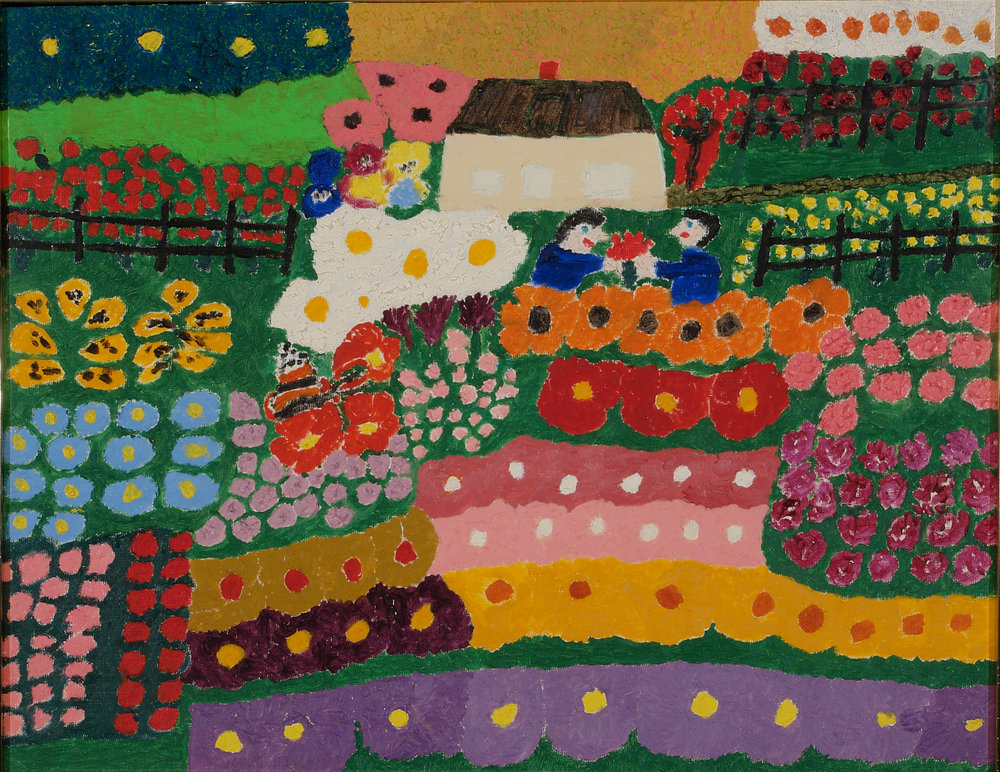 Mary Eveland (American, 1896-1981).  Flower Garden and House , ca. 1976-1980. Oil on canvas, 14 x 18 in. Intuit: The Center for Intuitive and Outsider Art, gift of Merle Glick,  2007.12.11