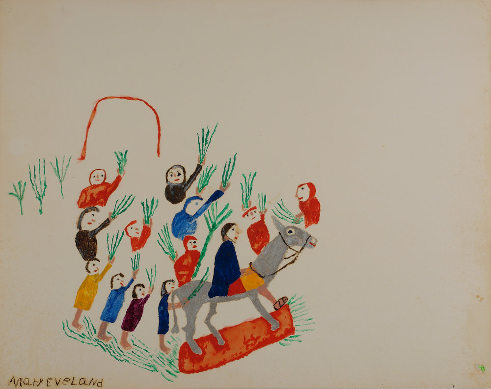 Mary Eveland (American, 1896-1981).  Palm Sunday , ca. 1976-1980. Oil on cardboard, 22 x 28 in. Intuit: The Center for Intuitive and Outsider Art, gift of Merle Glick, 2007.12.12