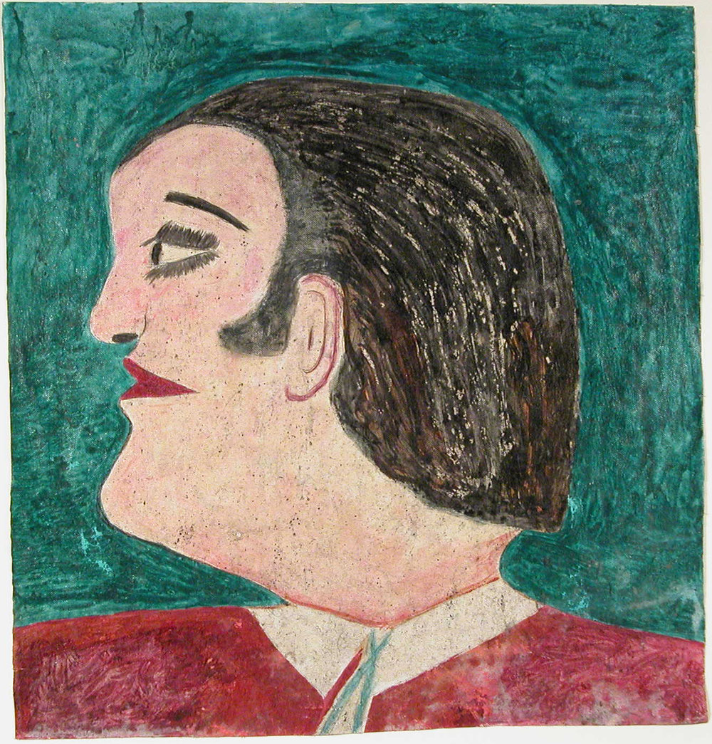 Lee Godie (American, 1908-1994).  Tidle a Head Artist Lee Godie A French Impressonist , n.d. Pen and paint on canvas, 19 x 17 ¾ in. Intuit: The Center for Intuitive and Outsider Art, gift of Theodore Halkin in memory of Whitney Halsted. 2003.2