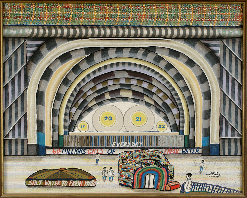 Alexander Maldonado (American, 1901-1989).  Salt Water to Fresh Water: 60 Million Gallons , 1977. Oil on canvas, 16 x 20 in. Intuit: The Center for Intuitive and Outsider Art, gift of The Ames Gallery, Berkeley—Bonnie and Sy Grossman,  2006.4