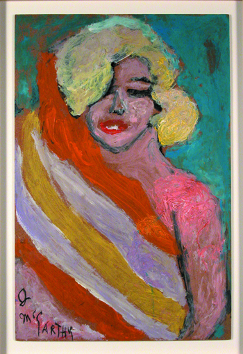 Justin McCarthy (American, 1891-1977).  Marilyn Monroe , ca. 1975-1980. Oil on board, 15 ½ x 23 ½ in. Intuit: The Center for Intuitive and Outsider Art, gift of Susann Craig, 2002.3