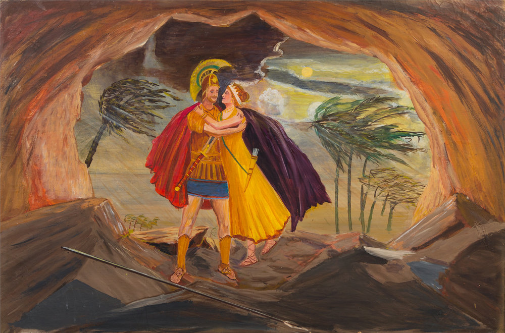 Aldo Piacenza (American, 1888-1976).  Untitled (Dido and Aeneas) , n.d. Oil on canvas, 31 ½ x 47 ¼ in. Intuit: The Center for Intuitive and Outsider Art, gift of the Estate of Ruth Horwich,  2016.3.2