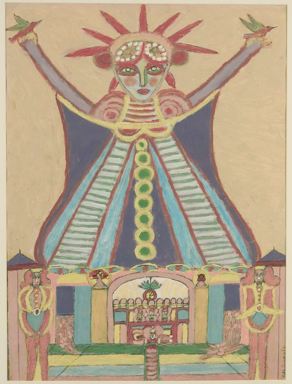 Max Romain (American, b. 1930).  Statue of Liberty , 1997. Paint on paper, 25 x 19 in. Intuit: The Center for Intuitive and Outsider Art, gift of Aarne Anton, 2010.8.2
