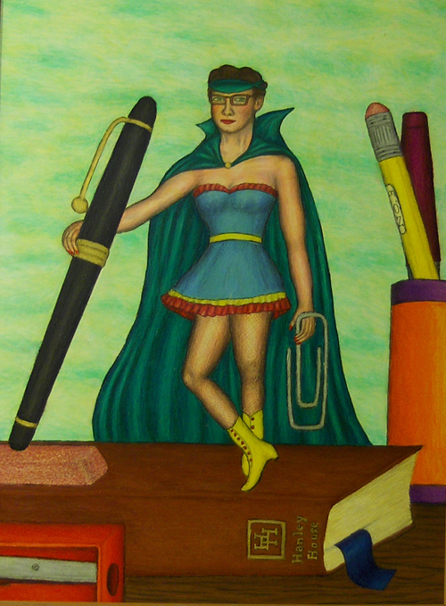 Stephen Warde Anderson (American, b. 1953).  Lady Author , 2001. Casein/gouache and prismacolor on museum board, 24 x 18 in. Intuit: The Center for Intuitive and Outsider Art, gift of Kevin Cole, 2009.1.2