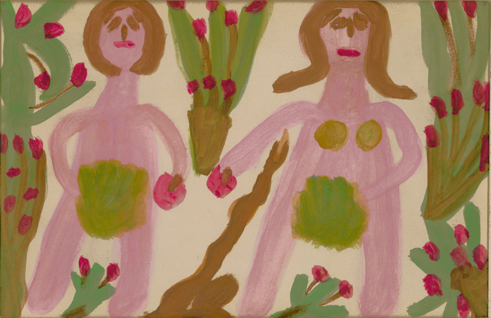 Betty Zakoian (American, 1908-1978).  Adam and Eve , n.d. Tempera on paper, 5 x 8 in. Intuit: The Center for Intuitive and Outsider Art, gift of the Zakoian family, 2007.5.23