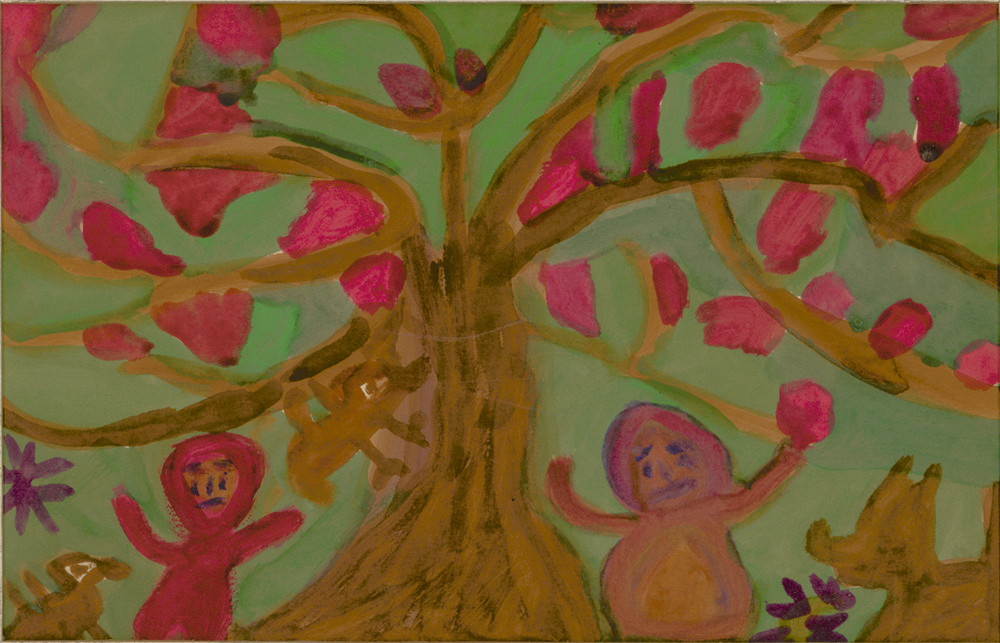 Betty Zakoian (American, 1908-1978).  Children with Birds and Animals Under Fruit Tree , n.d. Tempera on Paper, 5 x 8 in. Intuit: The Center for Intuitive and Outsider Art, gift of the Zakoian family, 2007.5.24