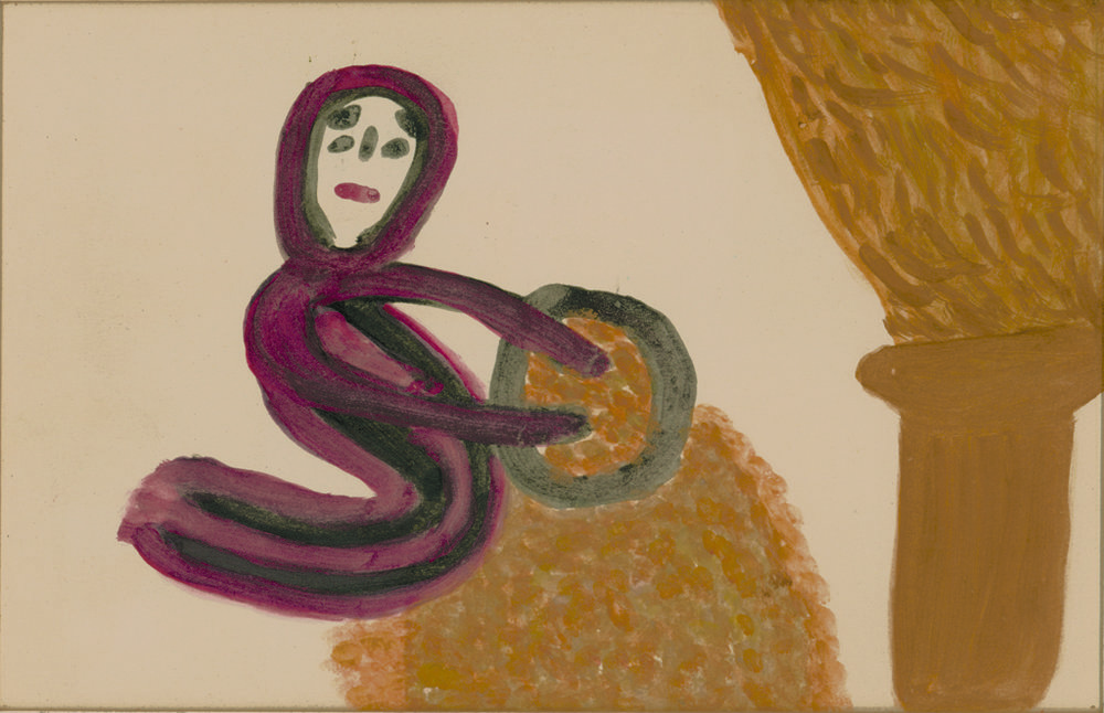 Betty Zakoian (American, 1908-1978).  Woman Sifting Wheat , n.d. Tempera on paper, 5 x 8 in. Intuit: The Center for Intuitive and Outsider Art, gift of the Zakoian family, 2007.5.26