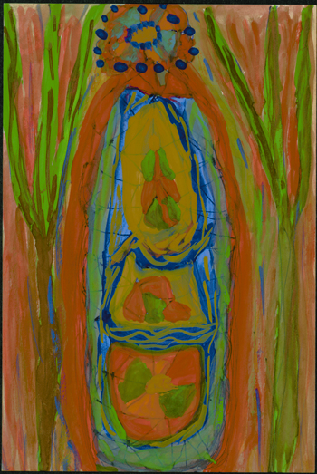 Betty Zakoian (American, 1908-1978).  Untitled , n.d. Tempera and pen on paper, 6 x 4 in. Intuit: The Center for Intuitive and Outsider Art, gift of the Zakoian family,  2007.5.31