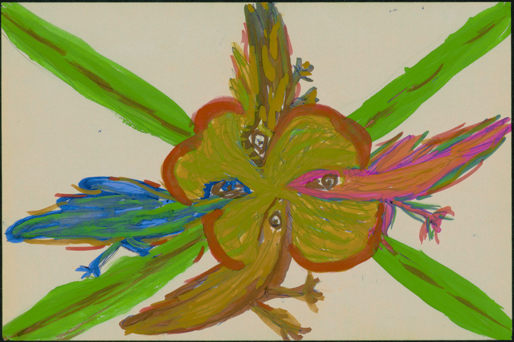 Betty Zakoian (American, 1908-1978).  Untitled , n.d. Tempera on paper, 6 x 4 in. Intuit: The Center for Intuitive and Outsider Art, gift of the Zakoian family, 2007.5.29