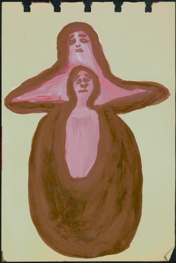 Betty Zakoian (American, 1908-1978).  Untitled , n.d. Tempera and pen on paper, 6 x 4 in. Intuit: The Center for Intuitive and Outsider Art, gift of the Zakoian family, 2007.5.33