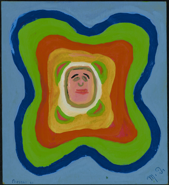 Betty Zakoian (American, 1908-1978).  Portrait (Recto/Verso) , n.d. Tempera on cardboard, 8 ½ x 9 3/8 in. Intuit: The Center for Intuitive and Outsider Art, gift of the Zakoian family, 2007.5.37