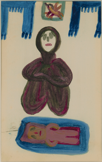 Betty Zakoian (American, 1908-1978).  Woman Lamenting Her Dead Child , n.d. Tempera on paper, 8 ¼ x 5 ¼ in. Intuit: The Center for Intuitive and Outsider Art, gift of the Zakoian family, 2007.5.40