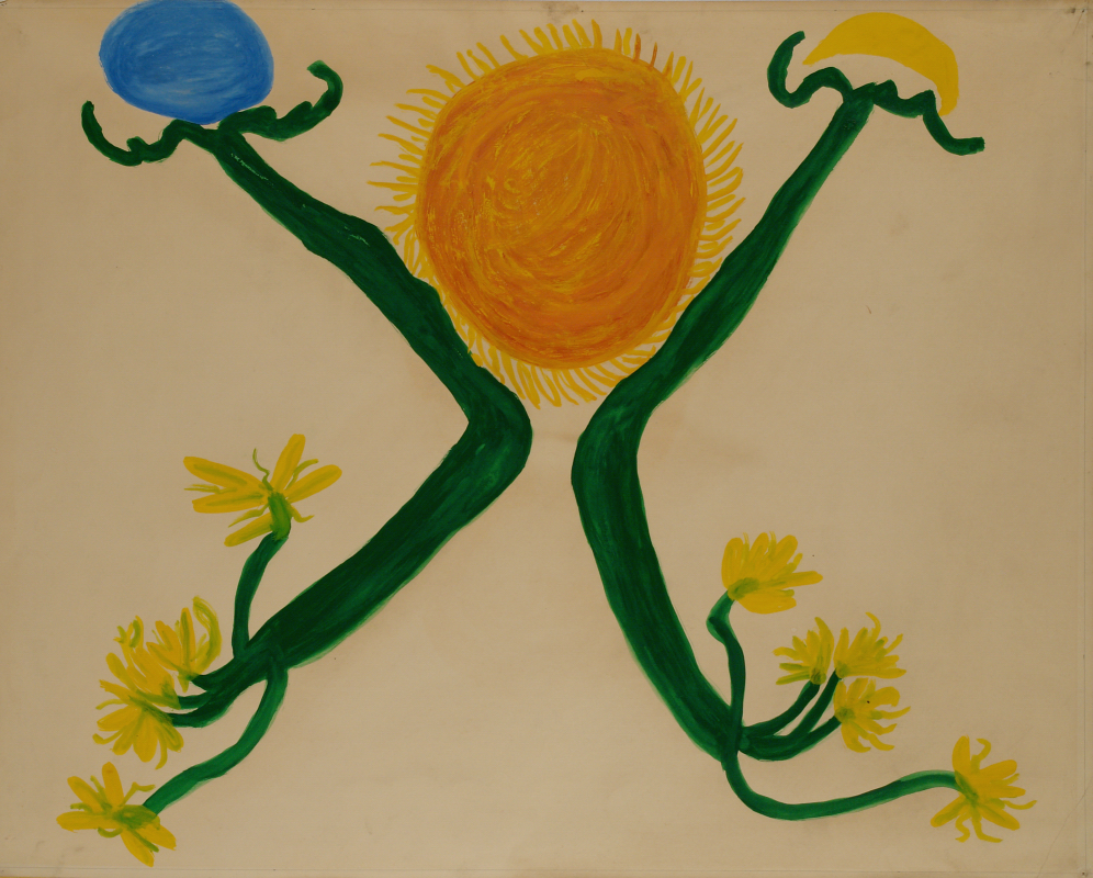 Betty Zakoian (American, 1908-1978).  Untitled (Sun and flowers) , n.d. Tempera on paper, 22 5/8 x 28 ¾ in. Intuit: The Center for Intuitive and Outsider Art, gift of the Zakoian family, 2007.5.52