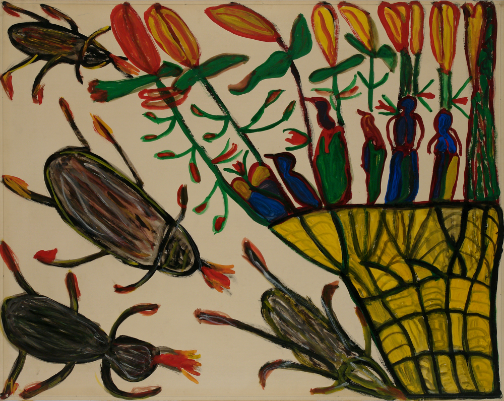 Betty Zakoian (American, 1908-1978).  Untitled (Insects and flowers) , n.d. Tempera on paper, 22 5/8 x 28 ¾ in. Intuit: The Center for Intuitive and Outsider Art, gift of the Zakoian family, 2007.5.53