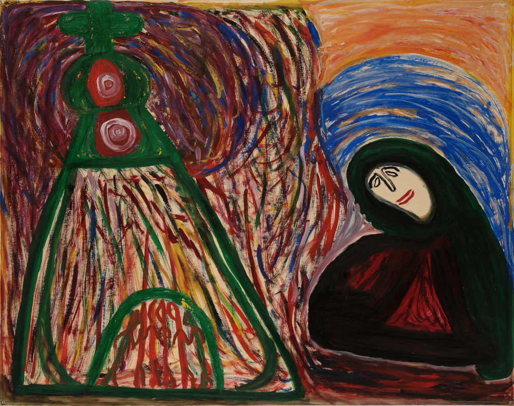 Betty Zakoian (American, 1908-1978).  Untitled (Woman with structure) , n.d. Tempera on paper, 22 5/8 x 28 ¾ in. Intuit: The Center for Intuitive and Outsider Art, gift of the Zakoian family, 2007.5.55
