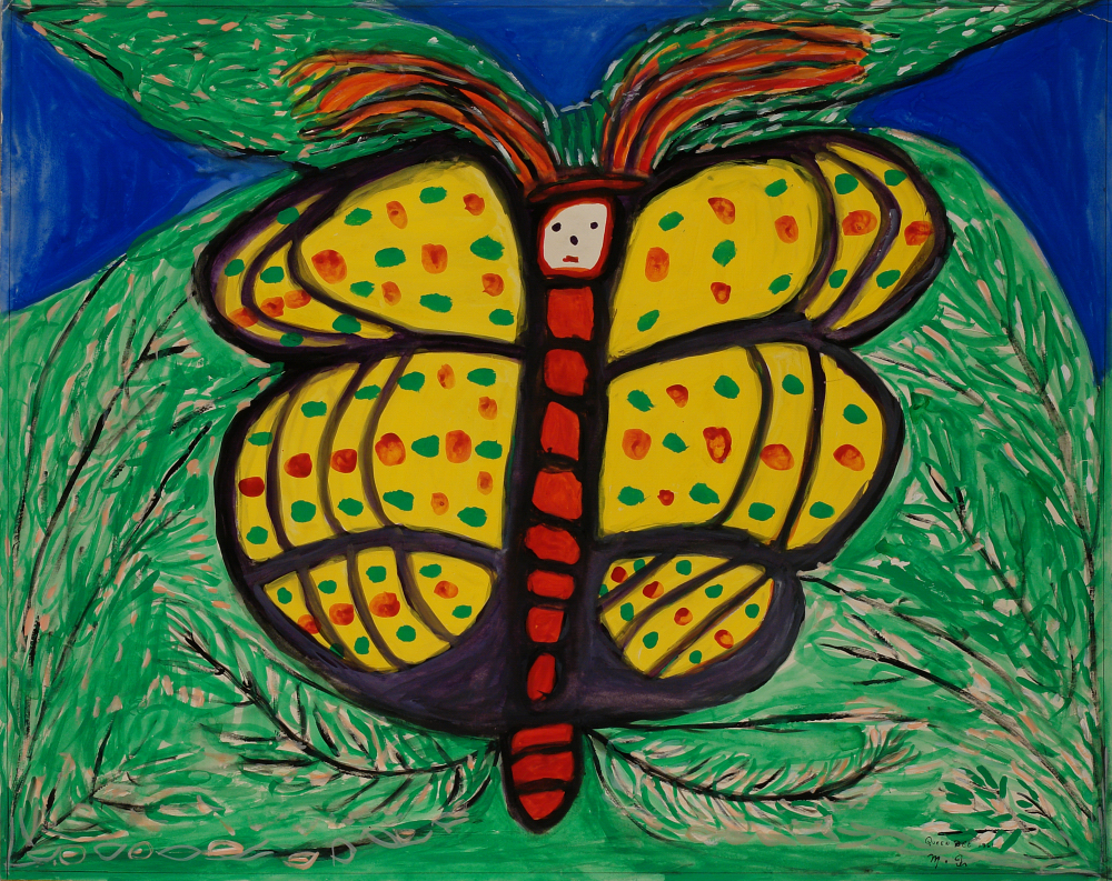 Betty Zakoian (American, 1908-1978).  Queen Bee , n.d. Tempera on paper, 22 5/8 x 28 ¾ in. Intuit: The Center for Intuitive and Outsider Art, gift of the Zakoian family, 2007.5.57