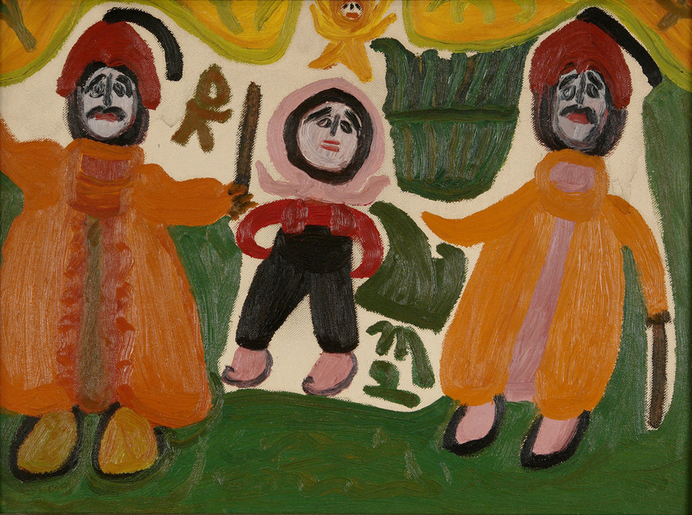Betty Zakoian (American, 1908-1978).  Turks Attack Me , n.d. Oil on canvas board, 12 x 16 in. Intuit: The Center for Intuitive and Outsider Art, gift of the Zakoian family,  2007.5.60