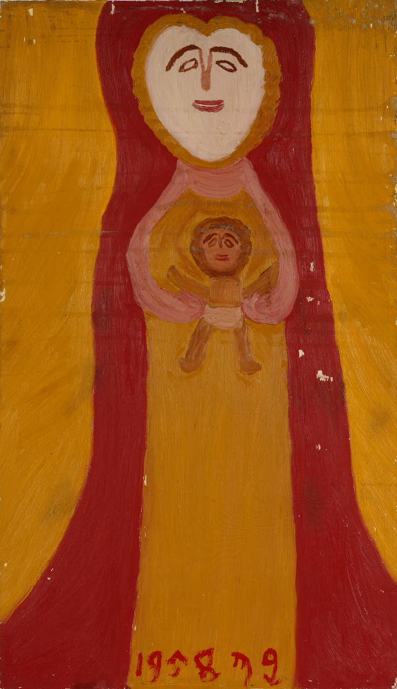 Betty Zakoian (American, 1908-1978).  Untitled (Mother with child) , n.d. Oil on board, 24 x 14 in. Intuit: The Center for Intuitive and Outsider Art, gift of the Zakoian family,  2007.5.64