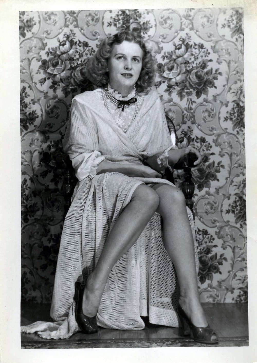 Eugene Von Bruenchenhein (American, 1910-1983).  Untitled (Marie seated, looks to viewer) , n.d. Gelatin silver print, 7 x 5 in. Intuit: The Center for Intuitive and Outsider Art, gift of Lewis and Jean Greenblatt,  2005.4.22