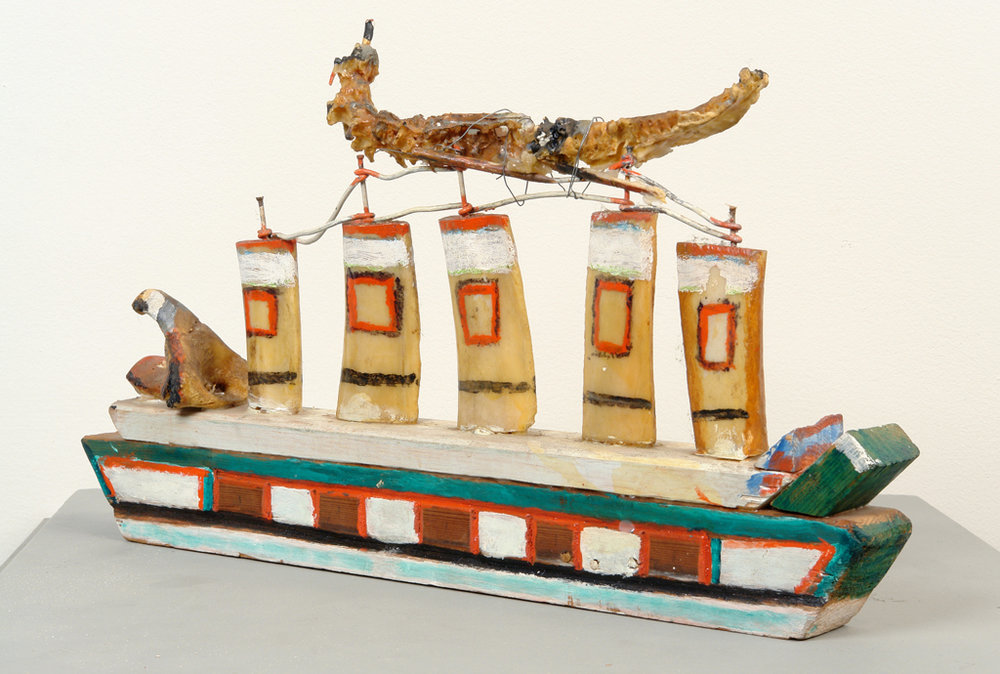 William Dawson (American, 1901-1990).  Untitled (Ship) , 1982. Wood, bone, and paint, 12 x 8 in. Intuit: The Center for Intuitive and Outsider Art, gift of Ruth and Bob Vogele, 2004.41.2
