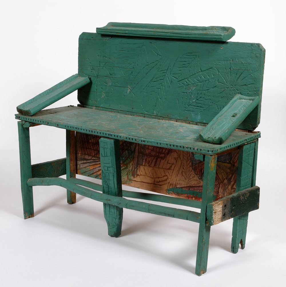 Leroy Person (American, 1907-1985).  Bench , ca. 1975-1980. Paint, carved wood, and nails, 30 x 35 x 14 in. Intuit: The Center for Intuitive and Outsider Art, gift of Jan Petry, 2005.9