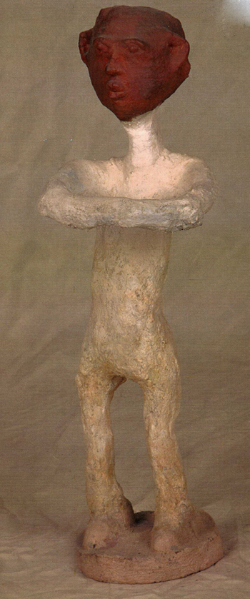 Dr. Charles Smith (American, b. 1940).  Red Faced Man , n.d. Concrete, mixed media, and paint, 30 ½ x 9 x 13 in. Intuit: The Center for Intuitive and Outsider Art, gift of Kohler Foundation, Inc., 2004.2.5