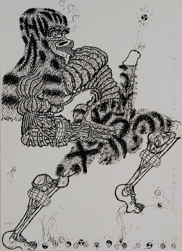 Hein Dingemans (Dutch).  Untitled (Pop) , 1995. Ink on paper, 25 ½ x 19 ¾ in (mat), 16 ½ x 11 ¾ in (sheet). Intuit: The Center for Intuitive and Outsider Art, gift of Galerie Atelier Herenplaats, Rotterdam, Netherlands, 2004.43.1