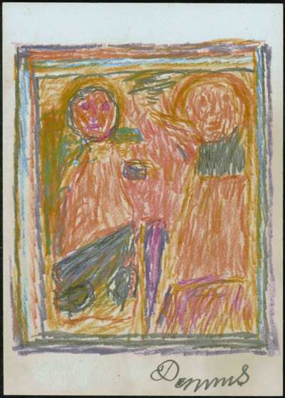 Anton Dobay (Austrian, 1906-1986).  Two Standing Figures , 1978. Pencil and color pencil on paper, 5 7/8 x 4 1/8 in. Intuit: The Center of Intuitive and Outsider Art, gift of John M. MacGregor in honor of Robert A. Roth, 2004.7.7
