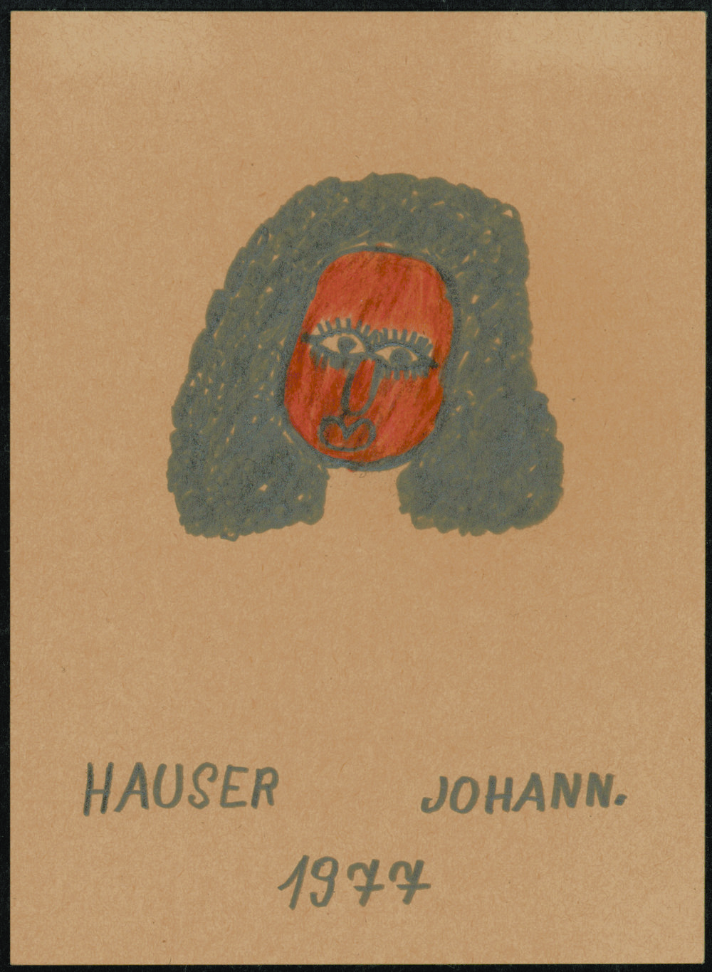 Johann Hauser (Austrian, 1926-1996).  Head of Woman with Red Face , 1977. Pencil and crayon on paper, 5 ¾ x 4 1/8 in. Intuit: The Center of Intuitive and Outsider Art, gift of John M. MacGregor in honor of Robert A. Roth, 2004.7.2