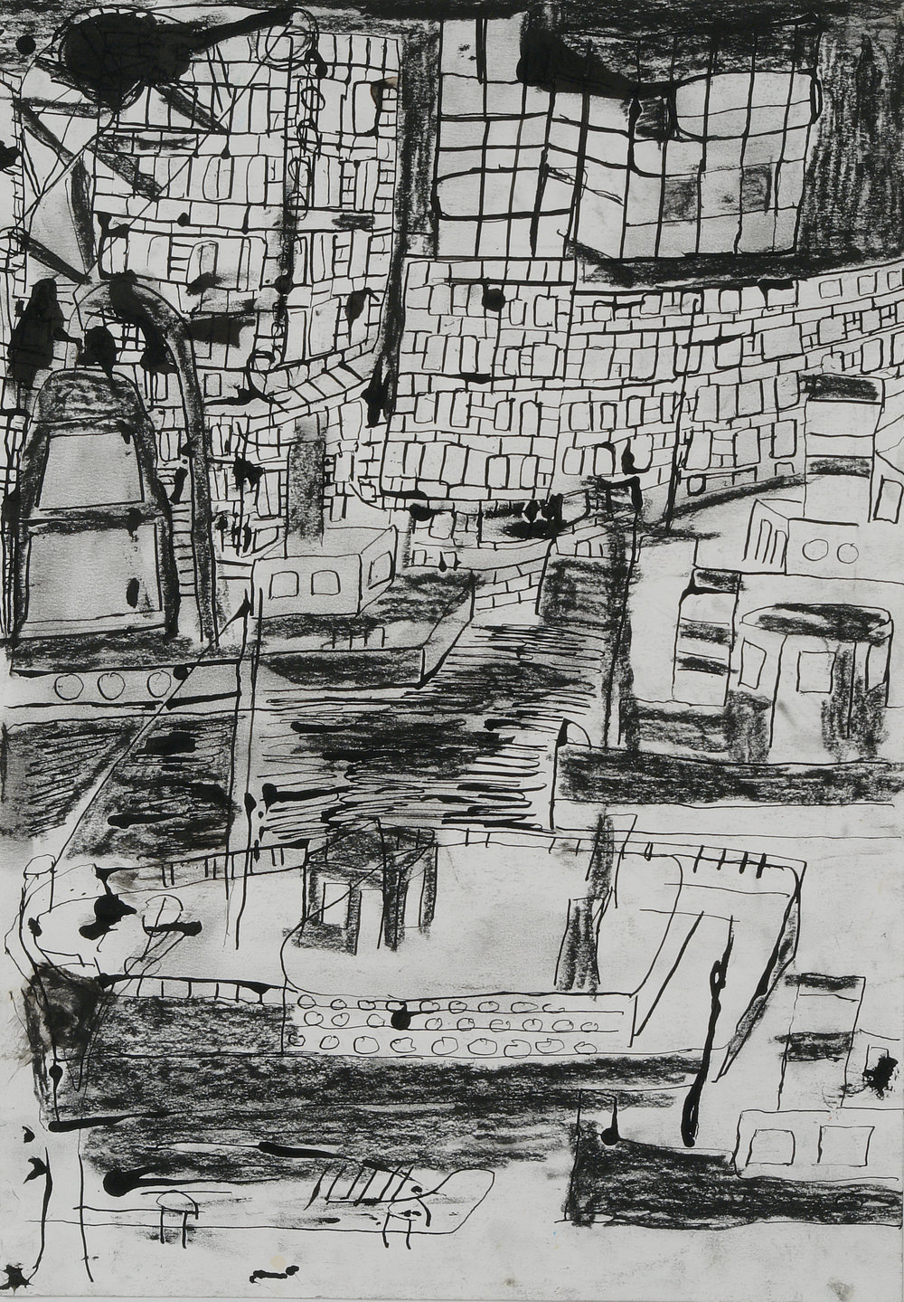 Jaco Kranendonk (Ducth, b. 1951).  De haven van Schiedam (Two Ships) , August 11, 1987. Ink on paper, 12 x 20 in. Intuit: The Center of Intuitive and Outsider Art, Gift of Galerie Atelier Herenplaats, Rotterdam, Netherlands, 2004.43.10