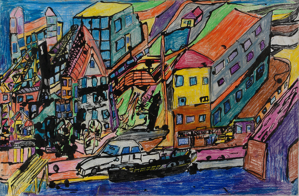 Jaco Kranendonk (Dutch, b. 1951).   Zalmhaven (Harbour) , n.d. Ink and pencil on paper, 20 x 12 in. Intuit: The Center for Intuitive and Outsider Art, gift of Galerie Atelier Herenplaats, Rotterdam, Netherlands, 2004.43.12