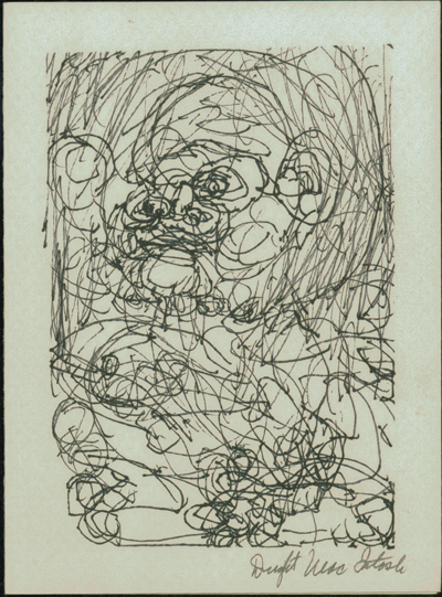 Dwight Mackintosh (American, 1906-1999).  Standing figure facing left , n.d. Pen on paper, 7 x 5 in. Intuit: The Center of Intuitive and Outsider Art, gift of Irene Ward Brydon in honor of Robert A. Roth, 2004.7.13