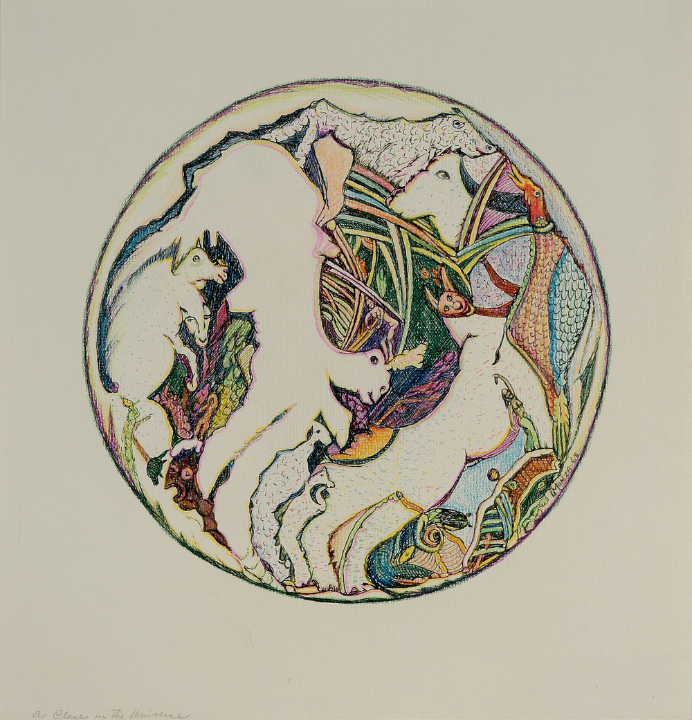 Louis Monza (American, 1897-1984).  A Place in the Universe , 1968. Ink and colored pencil on paper, 14 x 13 ½ in. Intuit: The Center for Intuitive and Outsider Art, gift of Susan Larsen Martin and Lauri Robert Martin, 2005.1