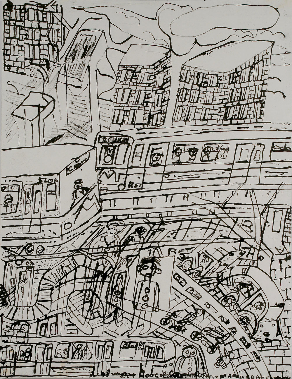 Jaco Kranendonk (Dutch, b. 1951).  Metro naar Wijnhaven (Subway to Wijnhaven) , ca. 1998. Ink on paper, 25 ½ x 19 7/8 in. Intuit: The Center for Intuitive and Outsider Art, gift of Galerie Atelier Herenplaats, Rotterdam, Netherlands, 2004.43.13