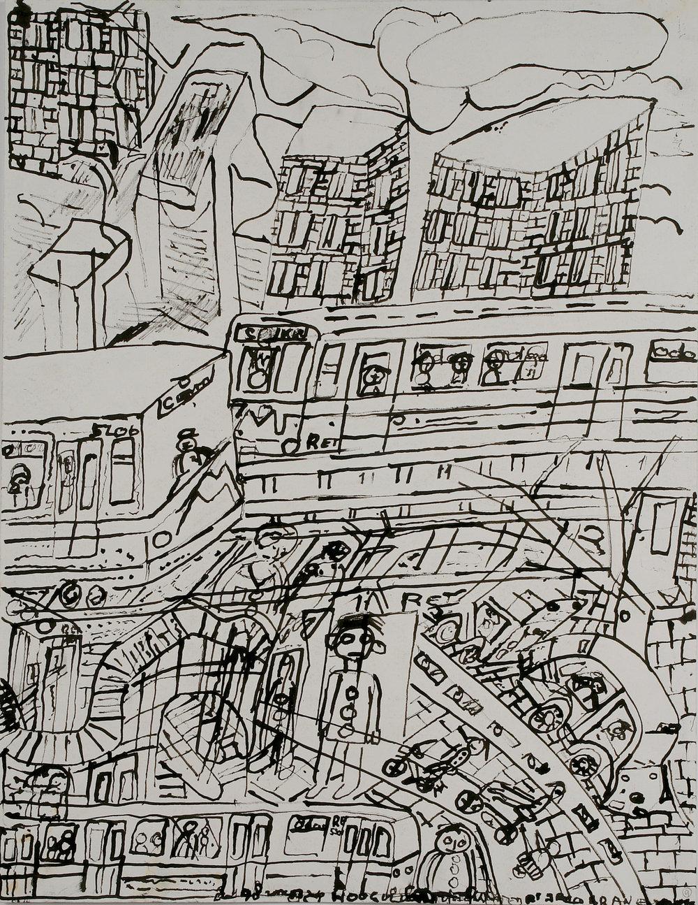 Jaco Kranendonk (Dutch, b. 1951).  Metro naar Wijnhaven (Subway to Wijnhaven) , ca. 1998. Ink on paper, 25 ½ x 19 7/8 in. Intuit: The Center of Intuitive and Outsider Art, gift of Galerie Atelier Herenplaats, Rotterdam, Netherlands, 2004.43.13