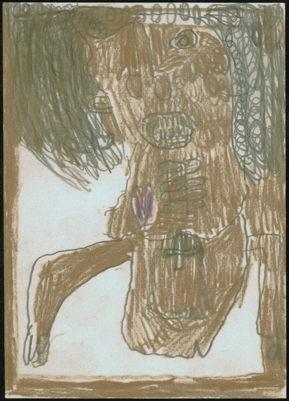 Philipp Schöpke (Austrian, 1921-1998).  Standing Figure with Cross , 1978. Pencil and crayon on paper, 5 ¾ x 4 1/8 in. Intuit: The Center of Intuitive and Outsider Art, gift of John M. MacGregor in honor of Robert A. Roth, 2004.7.8